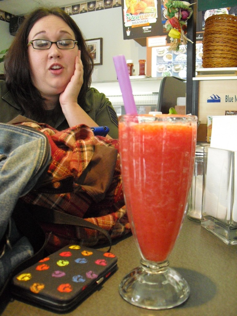 Leilani was a little jealous of my strawberry smoothie, lol