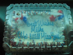 Cake Debra bought for our boss Mike.