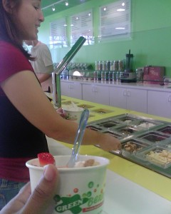 Jen preparing her yogurt at Green Berry.