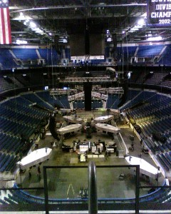 Setting up Metallica's stage.