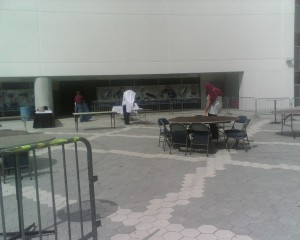 Setting up the tailgate party.